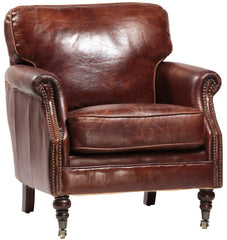 vintage leather occasional club chair