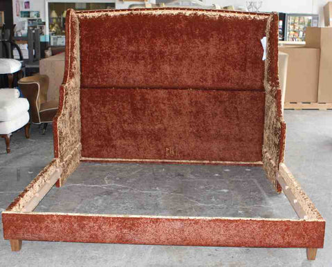 Custom Upholstered bed in a crushed velvet fabric