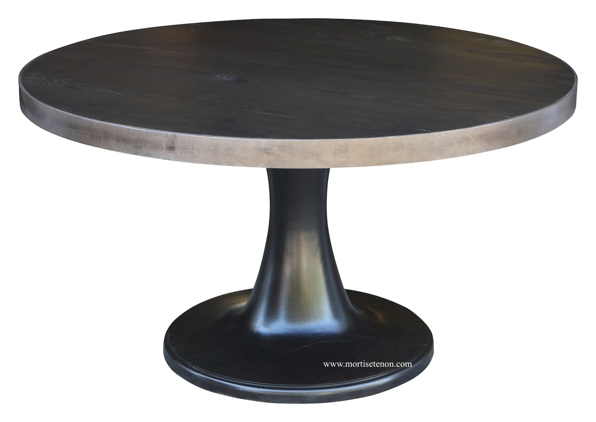 Marvelous Tulip Base Dining Table With A Metal Band Around The Top ...
