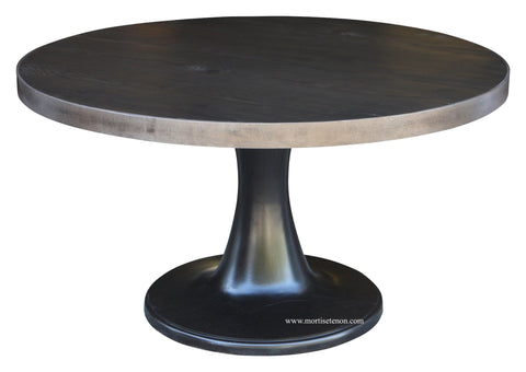 Tulip Base Dining Table with a Metal Band Around the Top