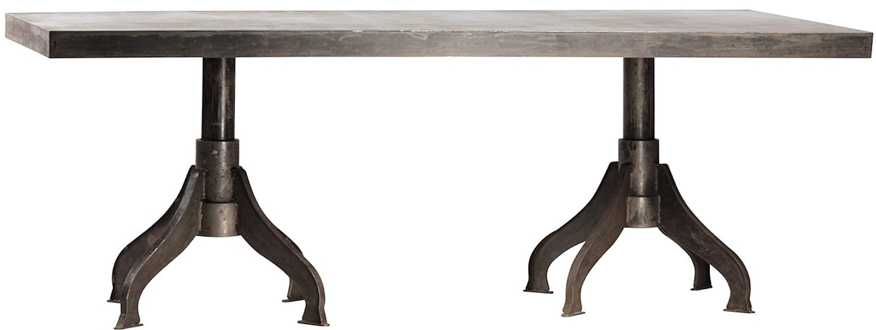 Industrial Metal Double Pedestal Dining Table