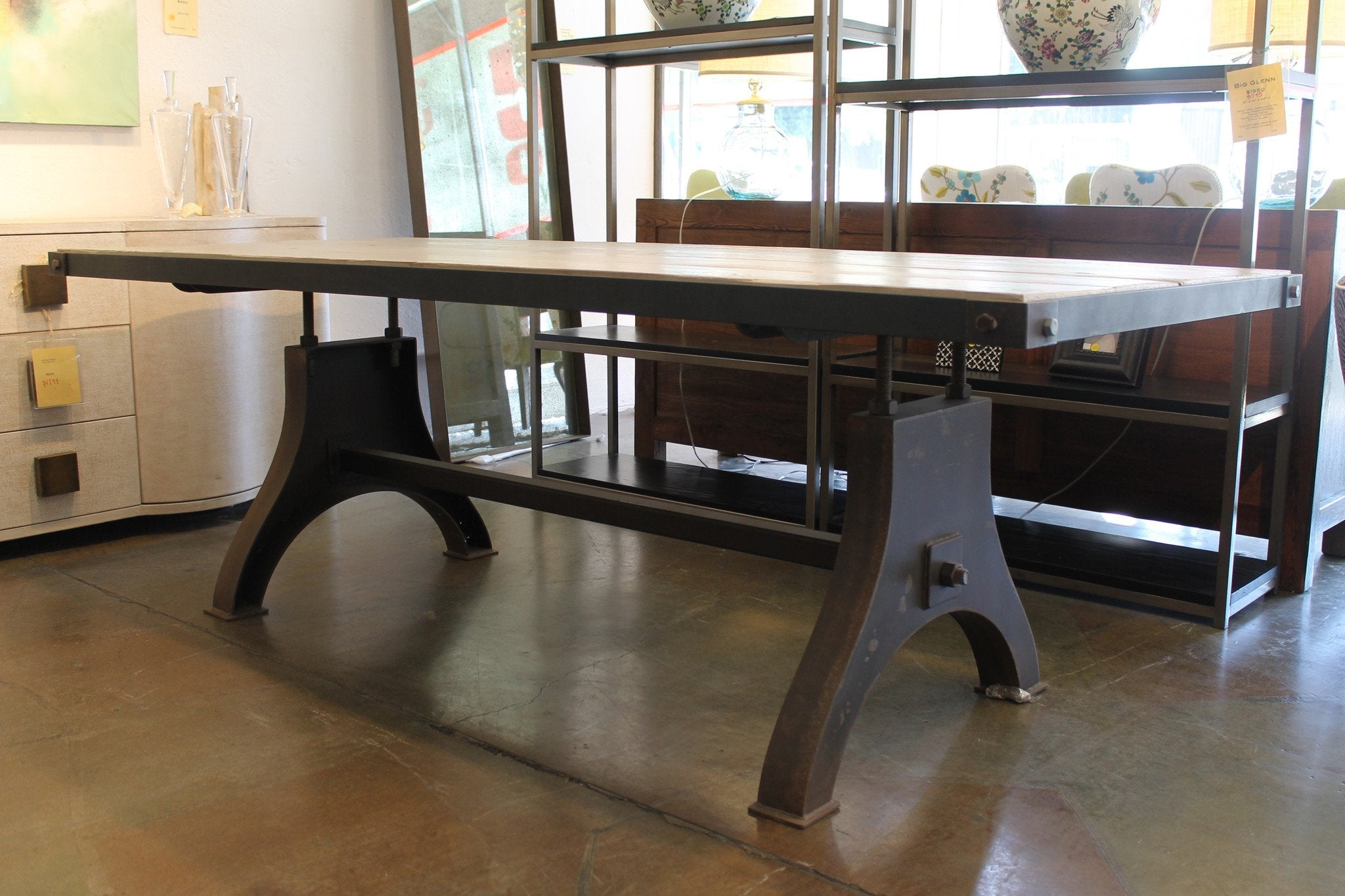 Modern industrial dining table in metal and wood