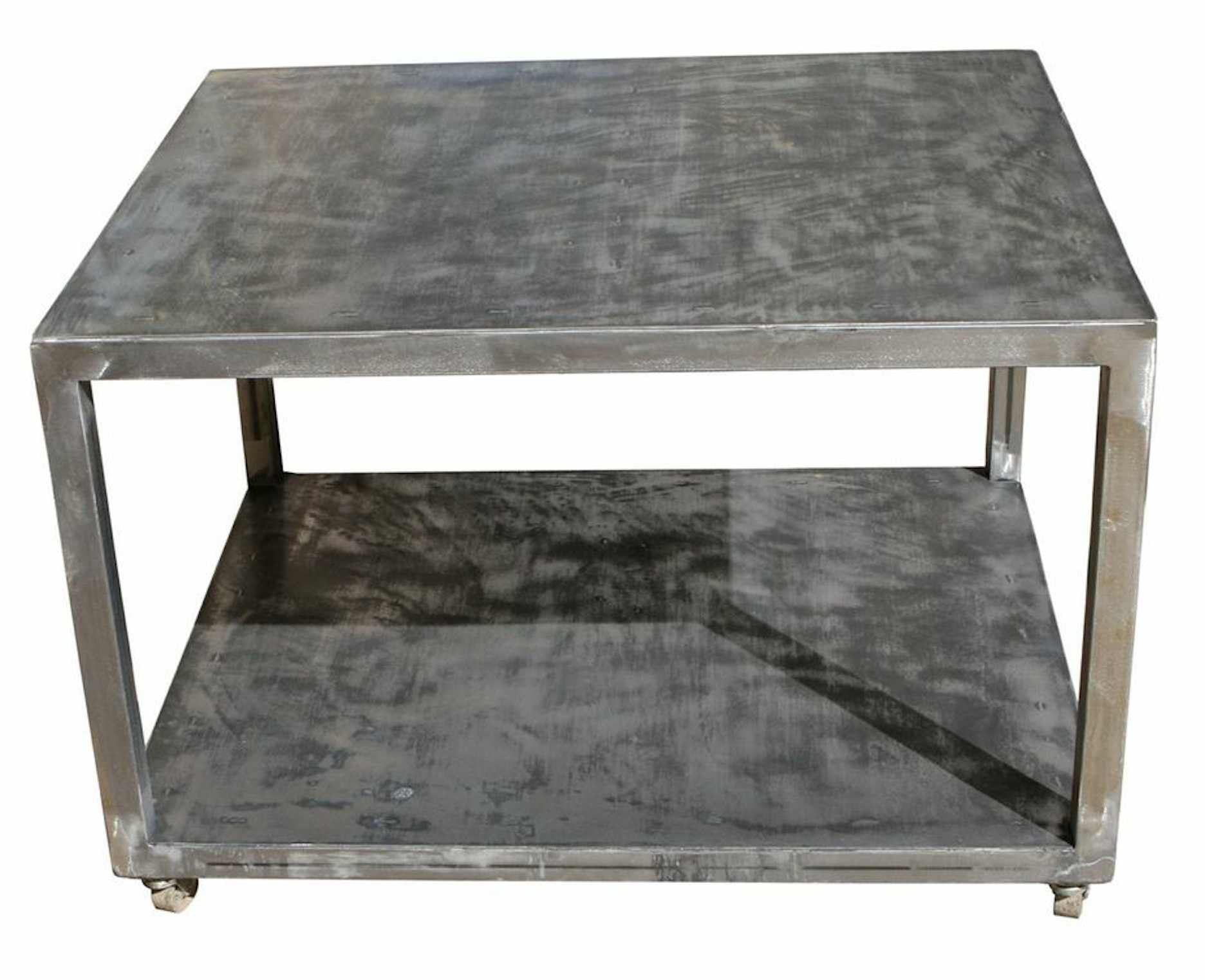 Industrial Metal Rolling Cart Coffee Table