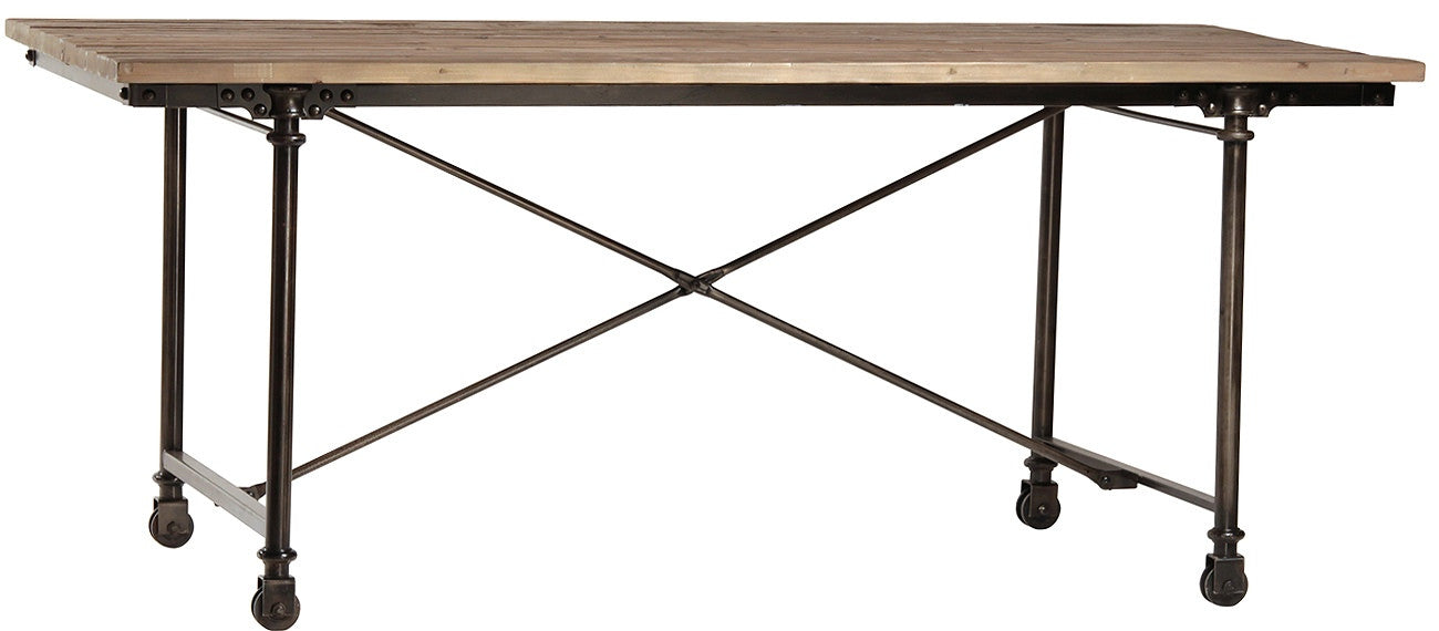 Los Feliz rustic metal and reclaimed wood Dining Table