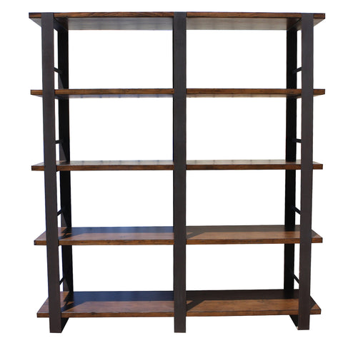heavy custom metal and reclaimed wood industrial bookcase
