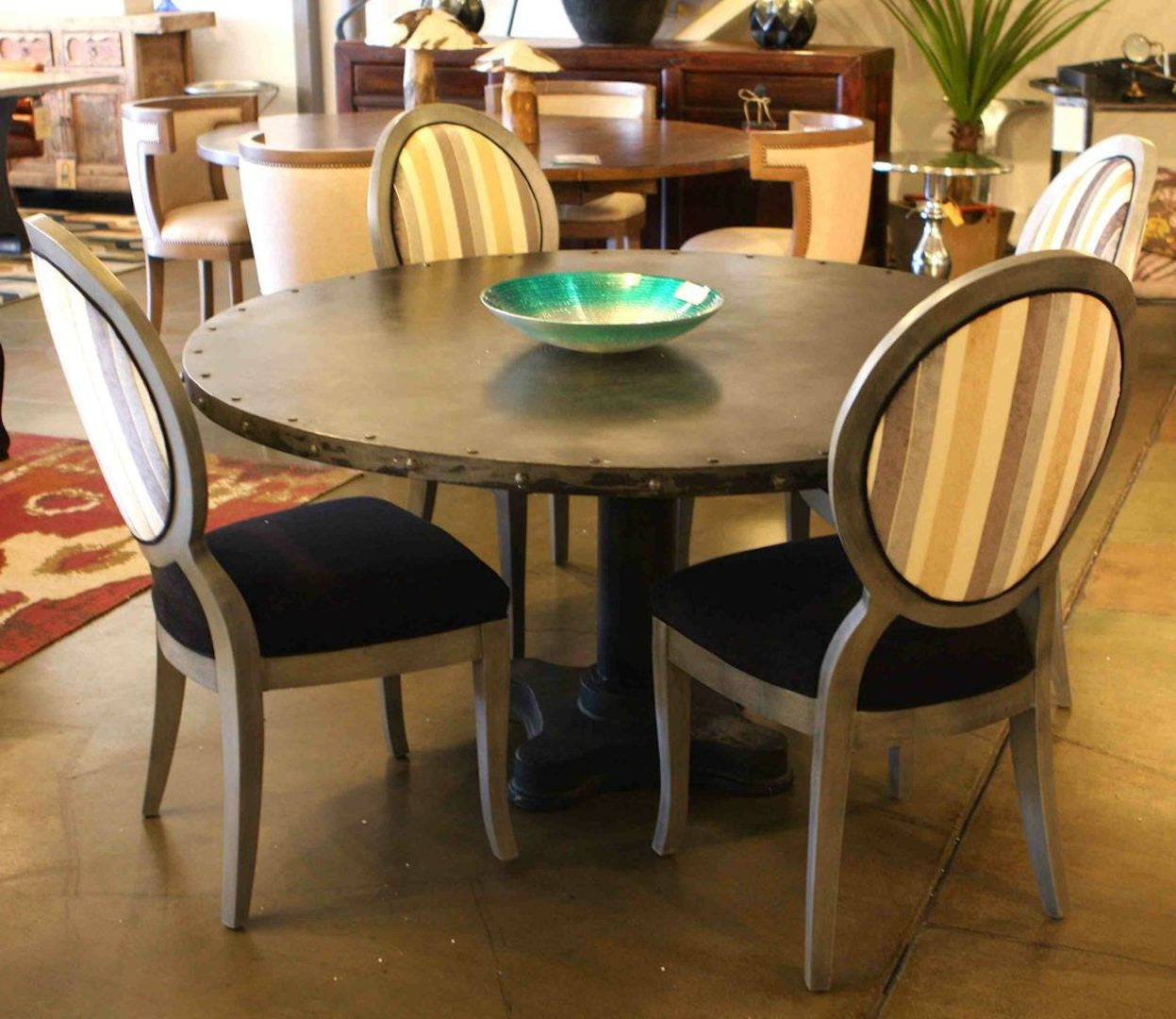 Picture of: Industrial Modern Dining Table And Queen Ann Chairs Mortise Tenon