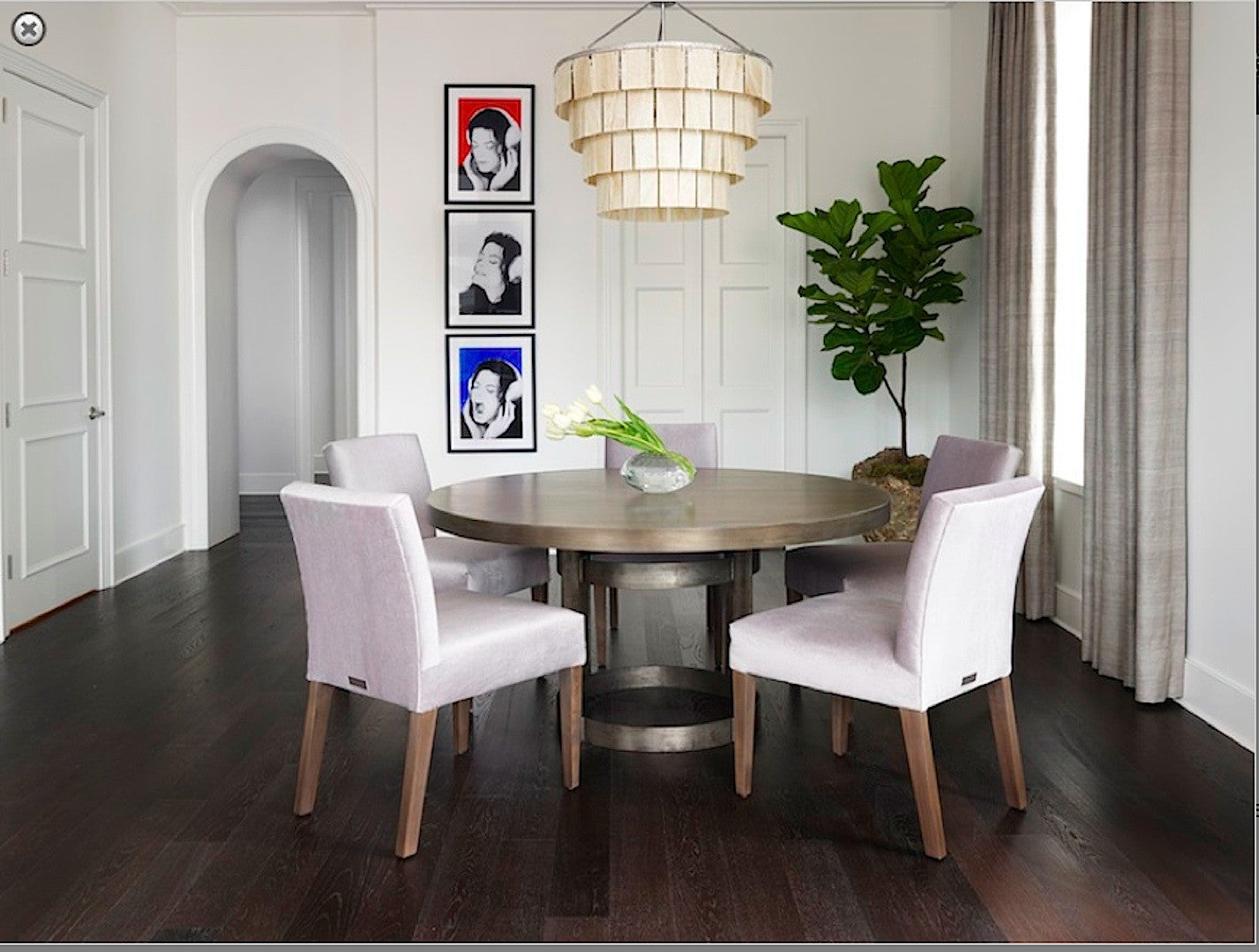 Picture of: Industrial Modern Round Dining Table With Upholstered Chairs Mortise Tenon