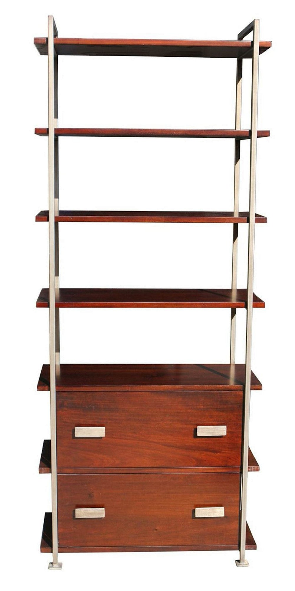Hoyt 2 Drawer Metal and Wood Bookcase