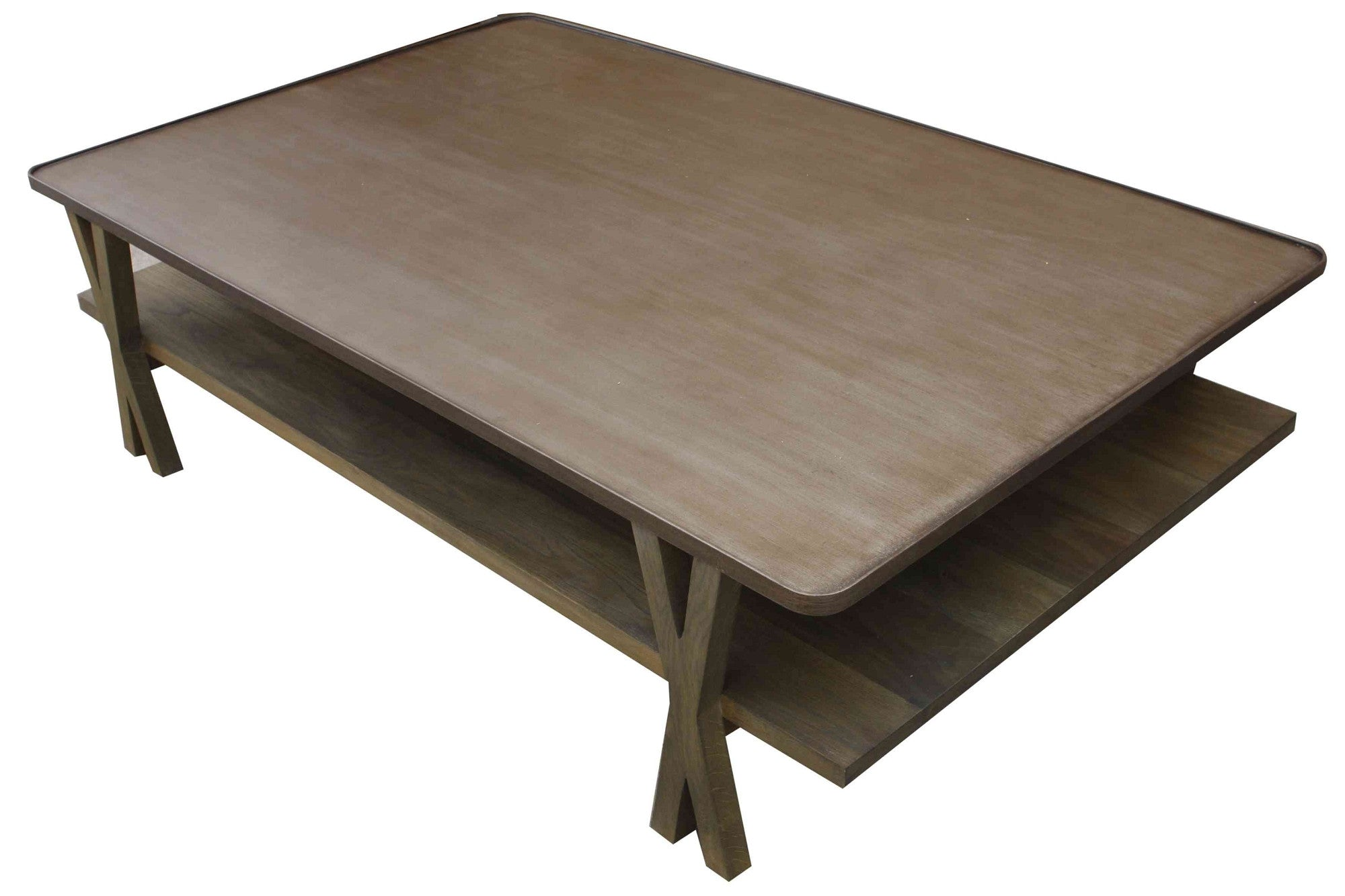 ... Contemporary Metal And White Oak Coffee Table ...