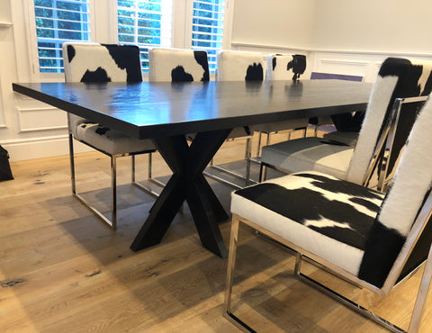Arden Dining Table With Cow Hide Dining Chairs