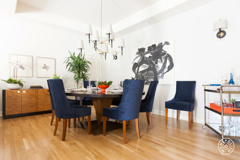 Hollywood Dining Table and Custom Dining Chairs