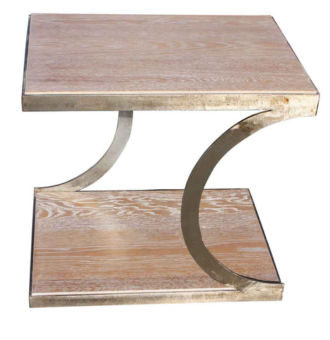 Unique Metal and White Oak Side Table