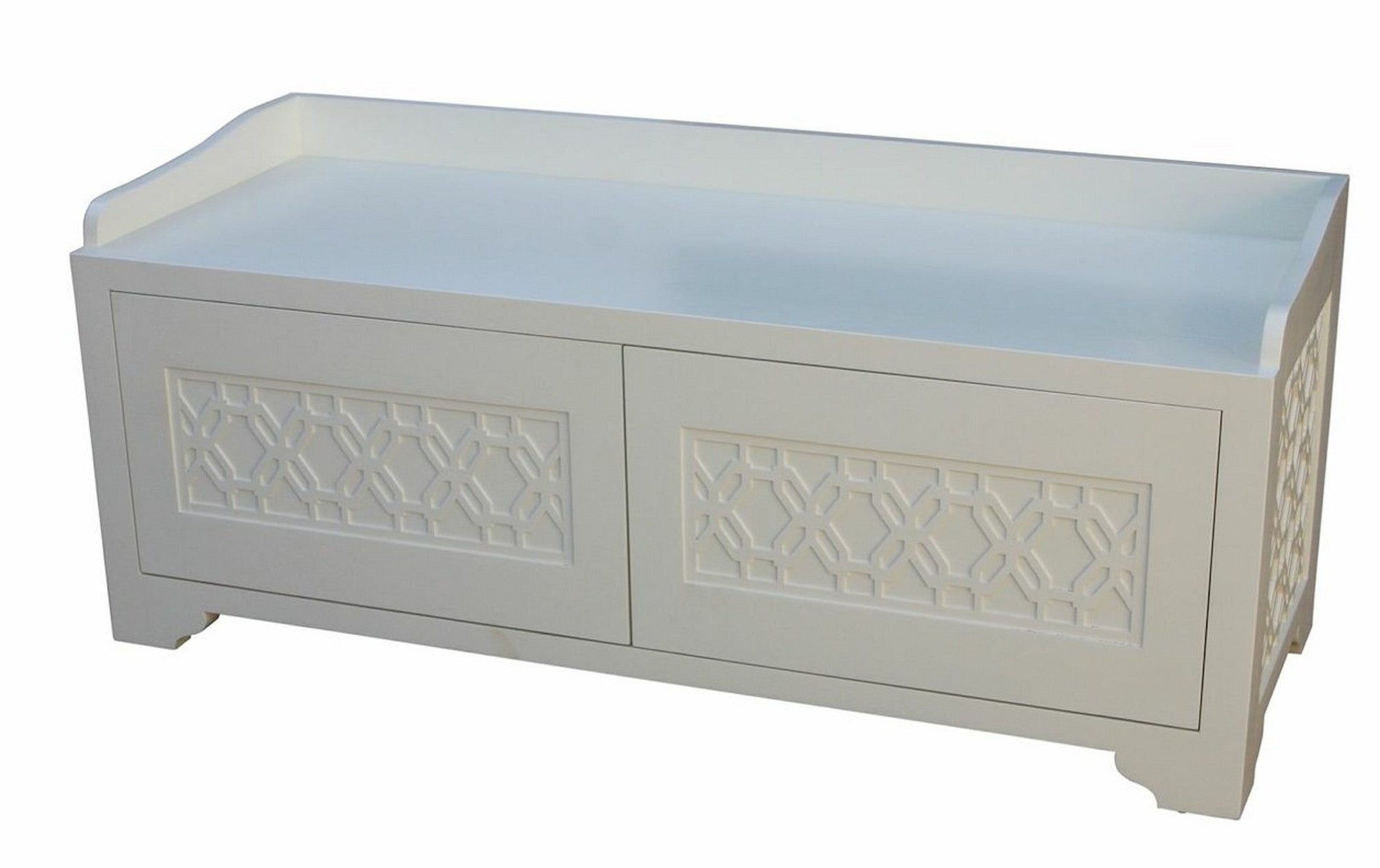 Remarkable Custom Bedroom Storage Bench With Geometric Lattice Tracery Bralicious Painted Fabric Chair Ideas Braliciousco