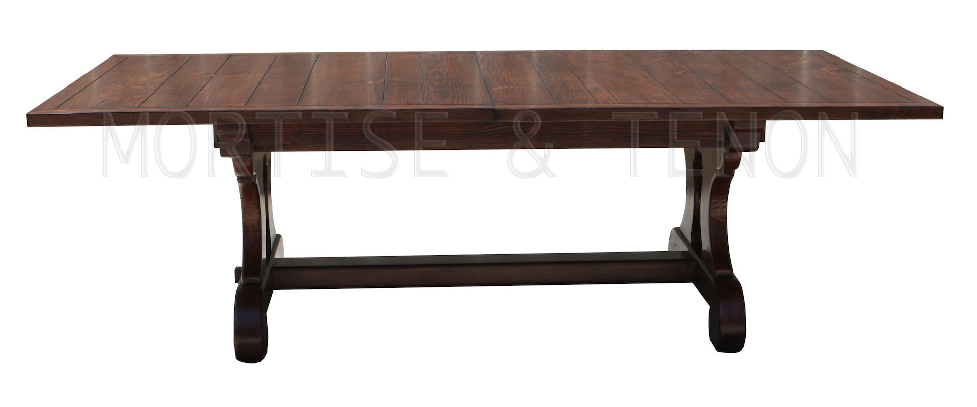 Lourdes Plank Top Trestle Dining Table in Reclaimed Wood