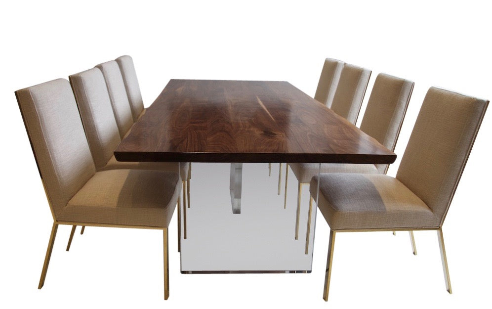 Live Edge Walnut And Lucite Dining Table
