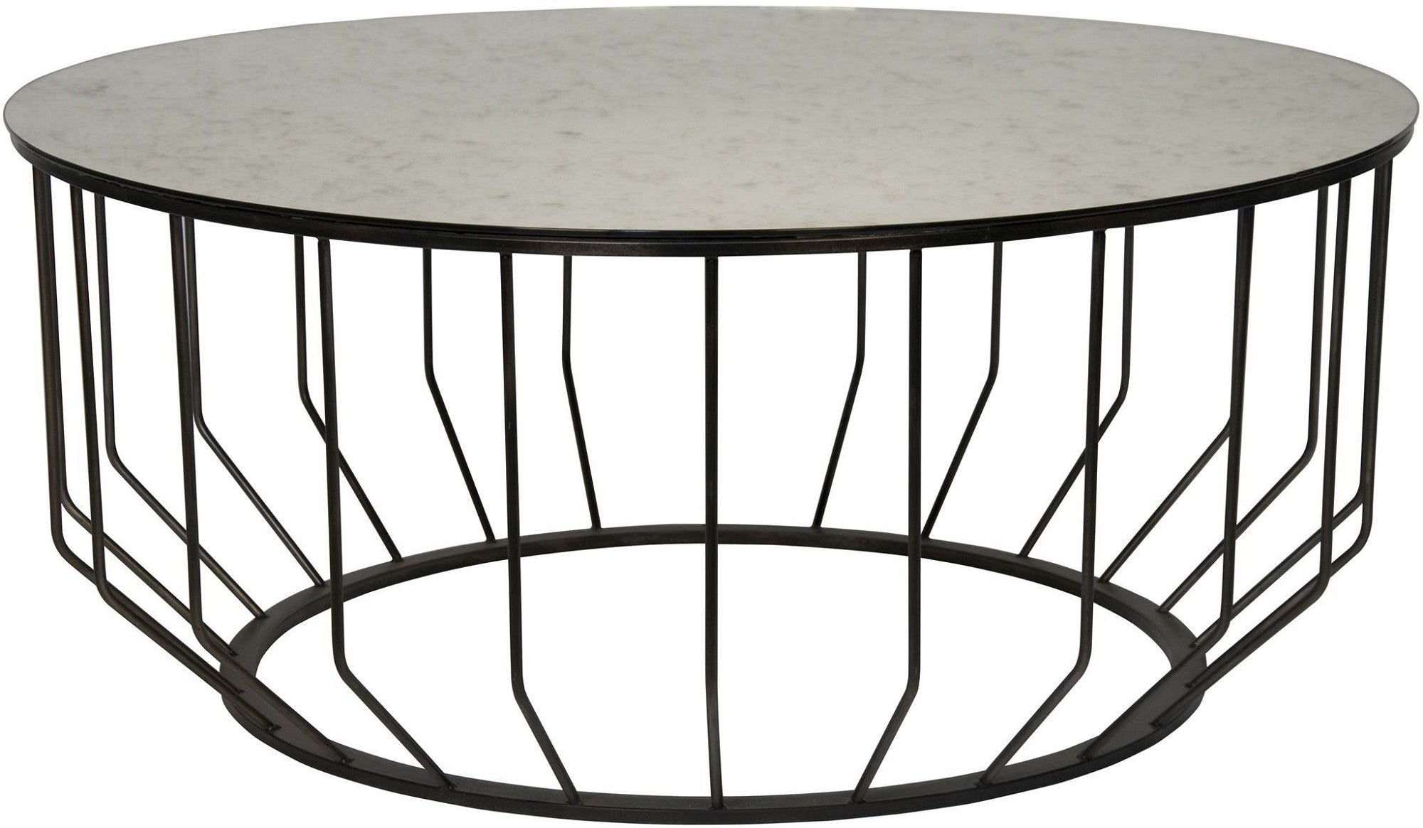 Lux Round Coffee Table  Spoked Metal Base. Tap To Expand