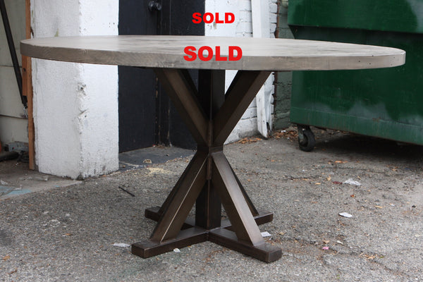 Metal X Base Round Dining Table Mortise Amp Tenon