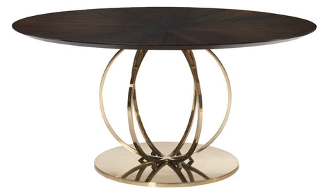 Sabine Modern Parquet top Round Pedestal Table