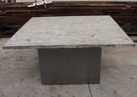 Custom Metal Pedestal Base and Reclaimed Wood Top Dining Table