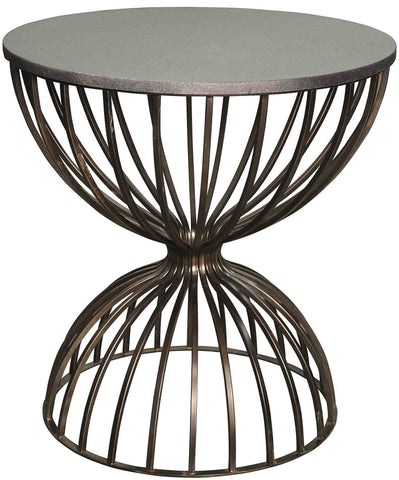 Metal and Stone Hourglass Occassional Side Table