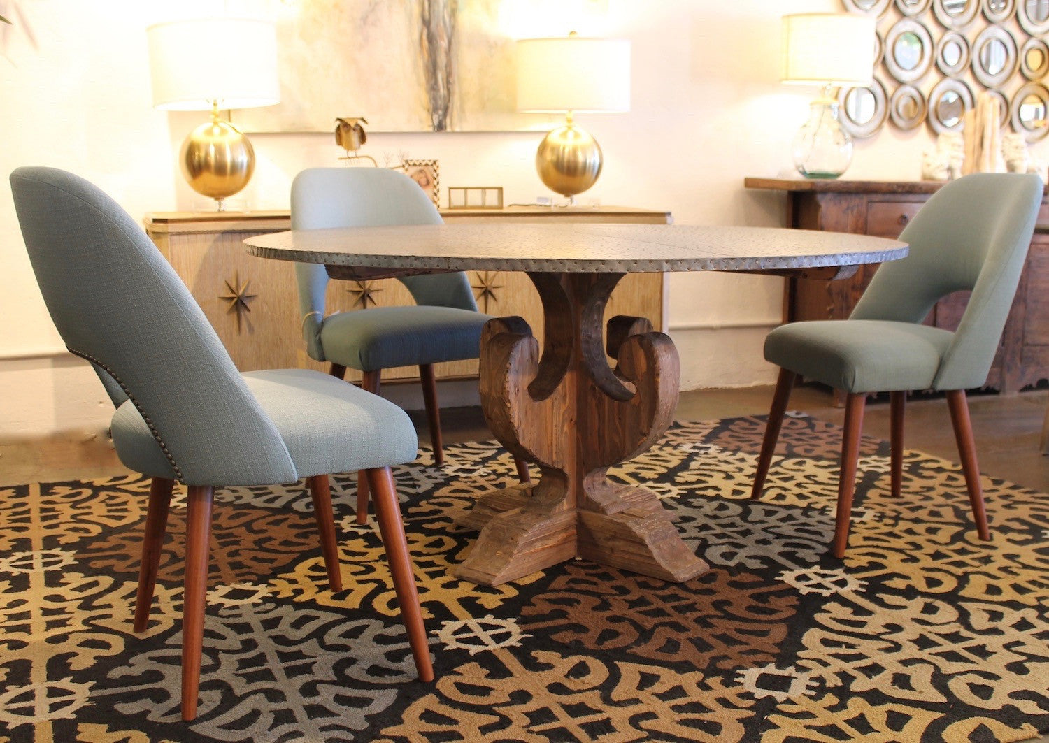 Carley Zinc Dining Table and Lucille Dining Chair