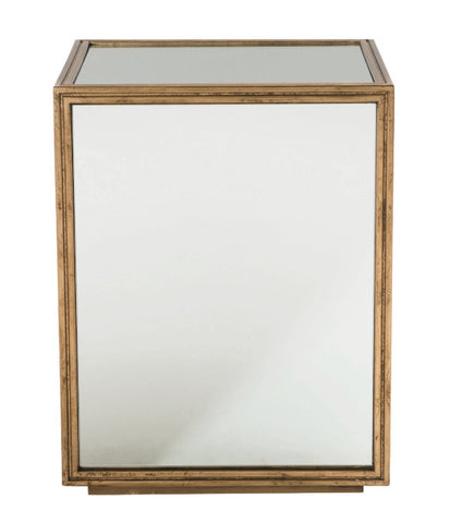 Lillian Cube Mirrored & Gold Leaf End table