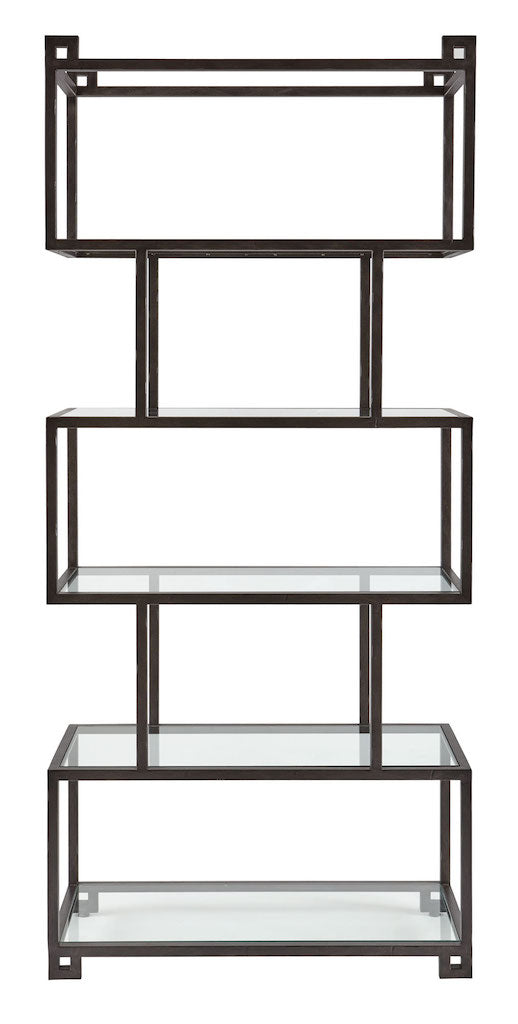 geometric modern black steel glass etagere display bookcase
