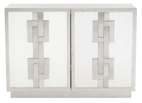 modern silver leaf and white lacquer small cabinet with chain pattern