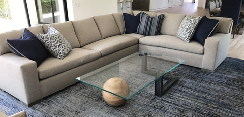 Custom Box Arm Sectional Sofa and Industrial Modern Glass Coffee Table