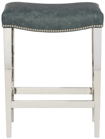 modern backless leather stainless steel barstool