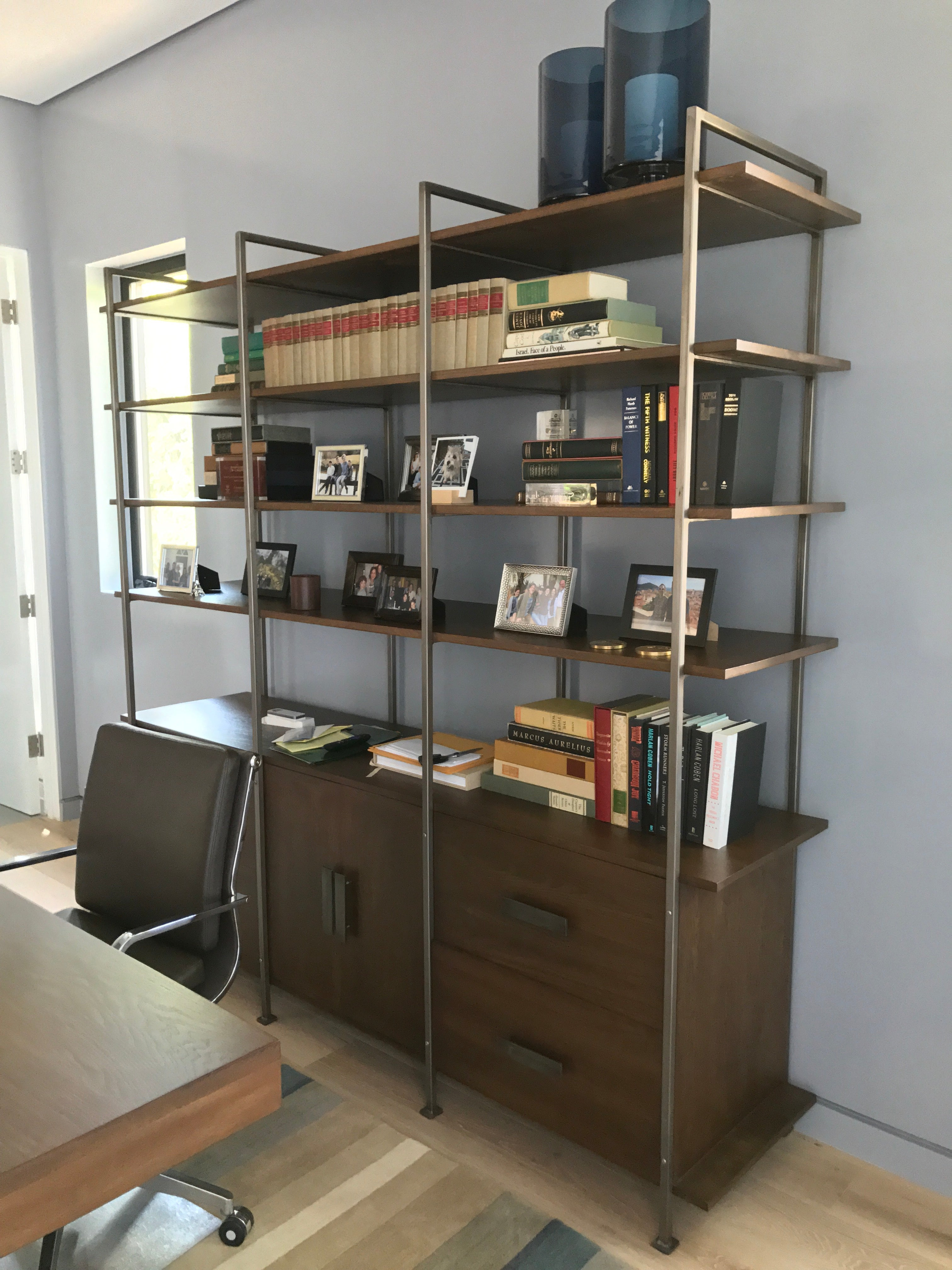 etagere media shelf bookcases wood brown metal walmart five frame ailis leaning bookcase com ip tower pine