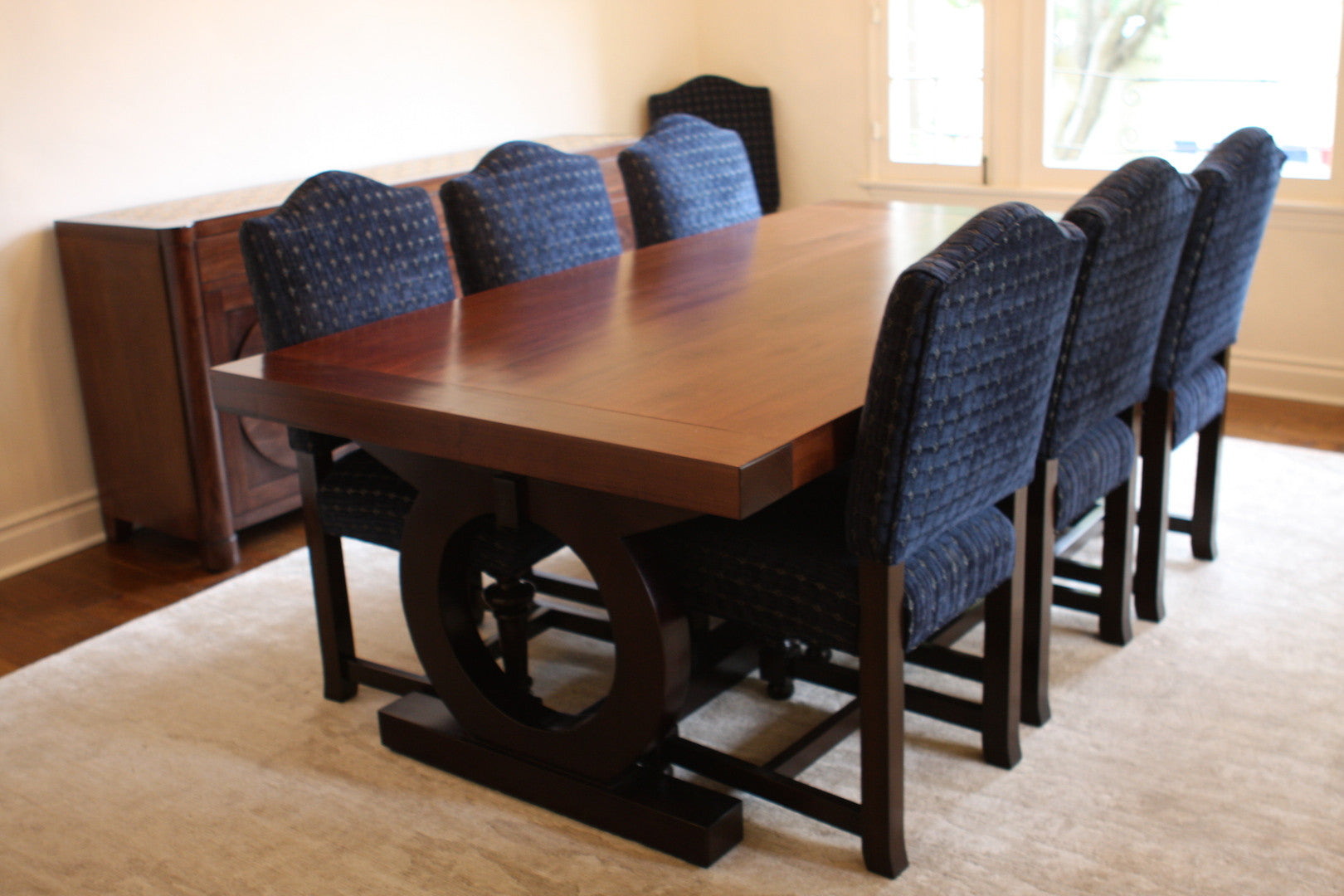 Custom Spanish Dining Table   Upholstered Chairs   Tile Top Buffet. Hover  To Zoom