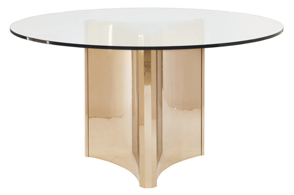Dining Table With Gold Legs Part - 47: Samson, Round Patinated Brass Dining Table