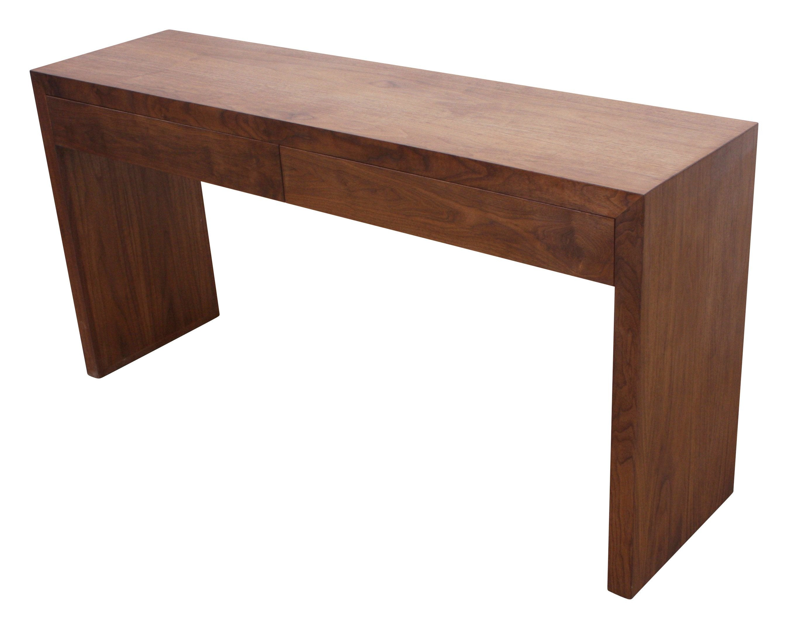 Modern solid walnut console table