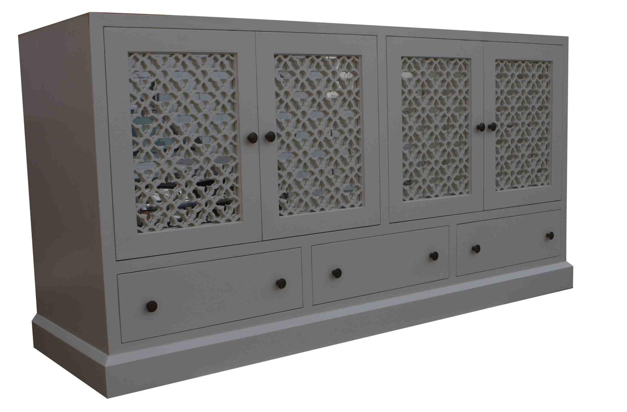 Beverly Mirrored Media Cabinet With Laser Cut Panel Doors ...