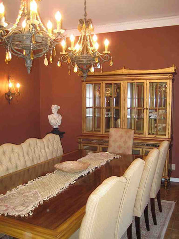 Custom: Dining Table, Dining Chairs, Dining Hutch Showroom: Chandeliers & Wall Sconces