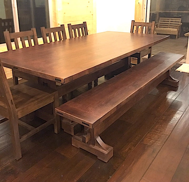 Custom Keyed Trestle Dining Table and Benches for Home in Big Bear
