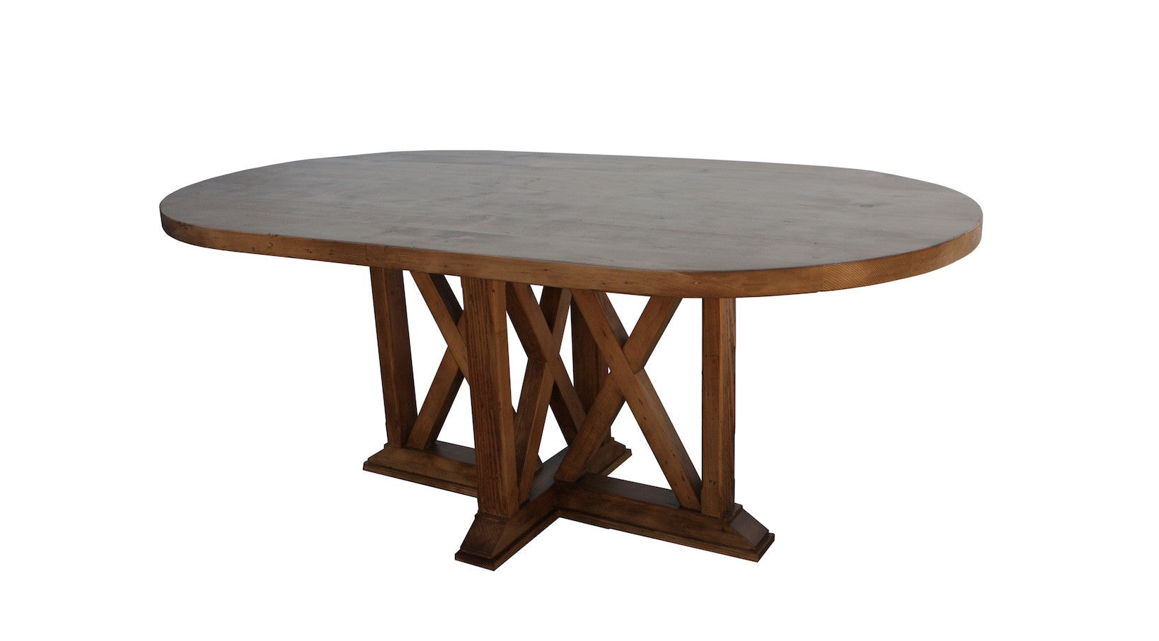 New England X Base Dining Table in Reclaimed Wood