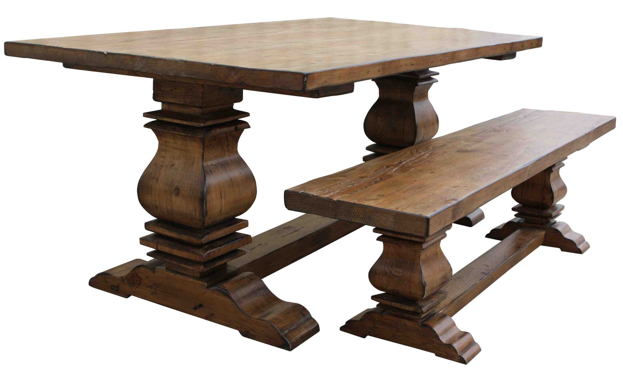 Custom reclaimed wood trestle dining room tables handmade for Best wood for dining table