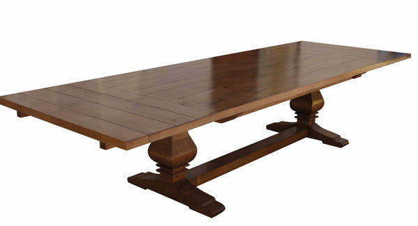Anaheim reclaimed wood extension trestle dining table for Non wood dining table