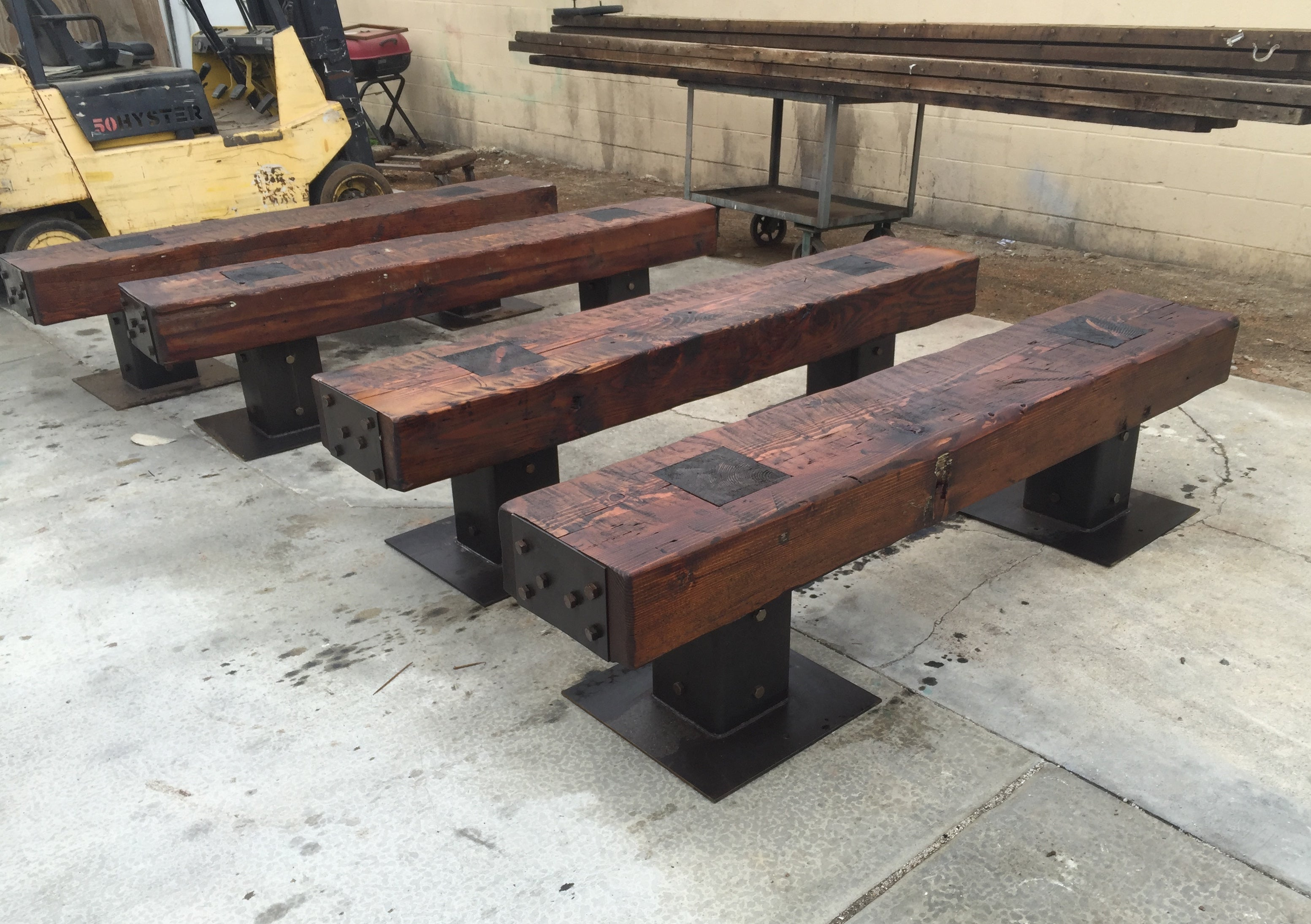 Rustic Reclaimed Wood Outdoor Bench Mortise Tenon