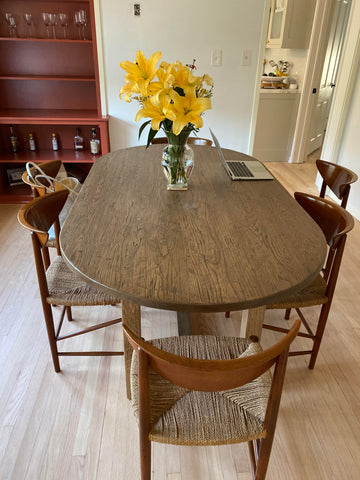 Oval White Oak Dining Table with Vintage Distressing