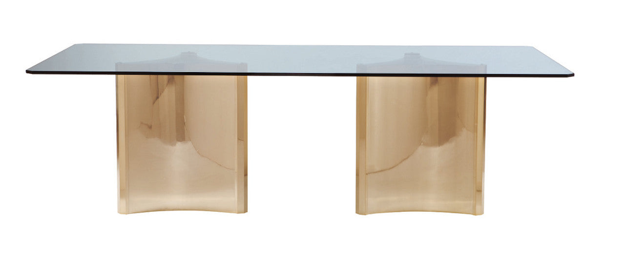 Samson, Double Pedestal Glass Dining Table ...