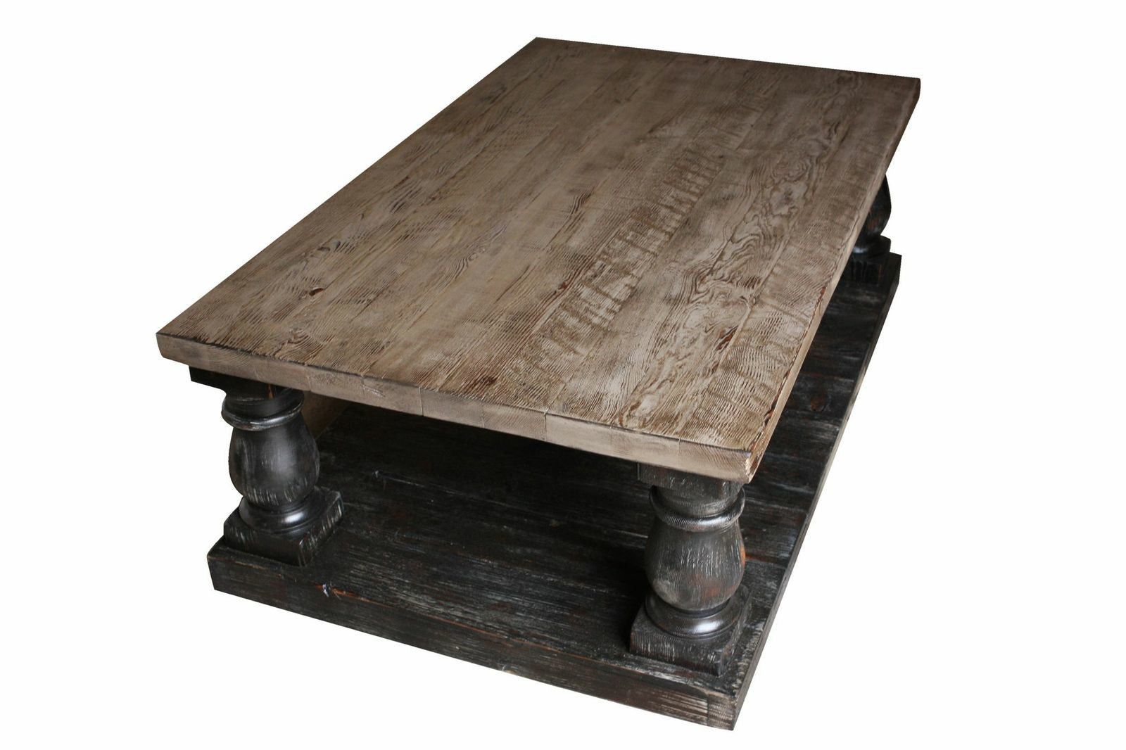 Postobello large turned leg coffee table built in for Reclaimed teak wood coffee table