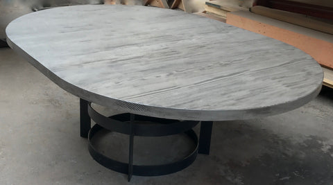 "60"" Round Reclaimed Wood Extension Table with Metal Base"