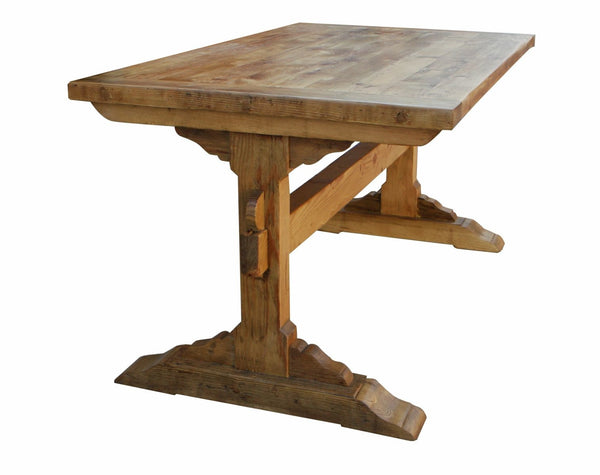 Santa barbara dining trestle table built in reclaimed for Dining table tv