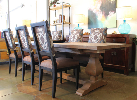 Segovia Reclaimed Wood Trestle Dining and Custom Dining Chairs