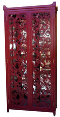Red Lacquer Wine Cabinet with Laser Cut Door Panels