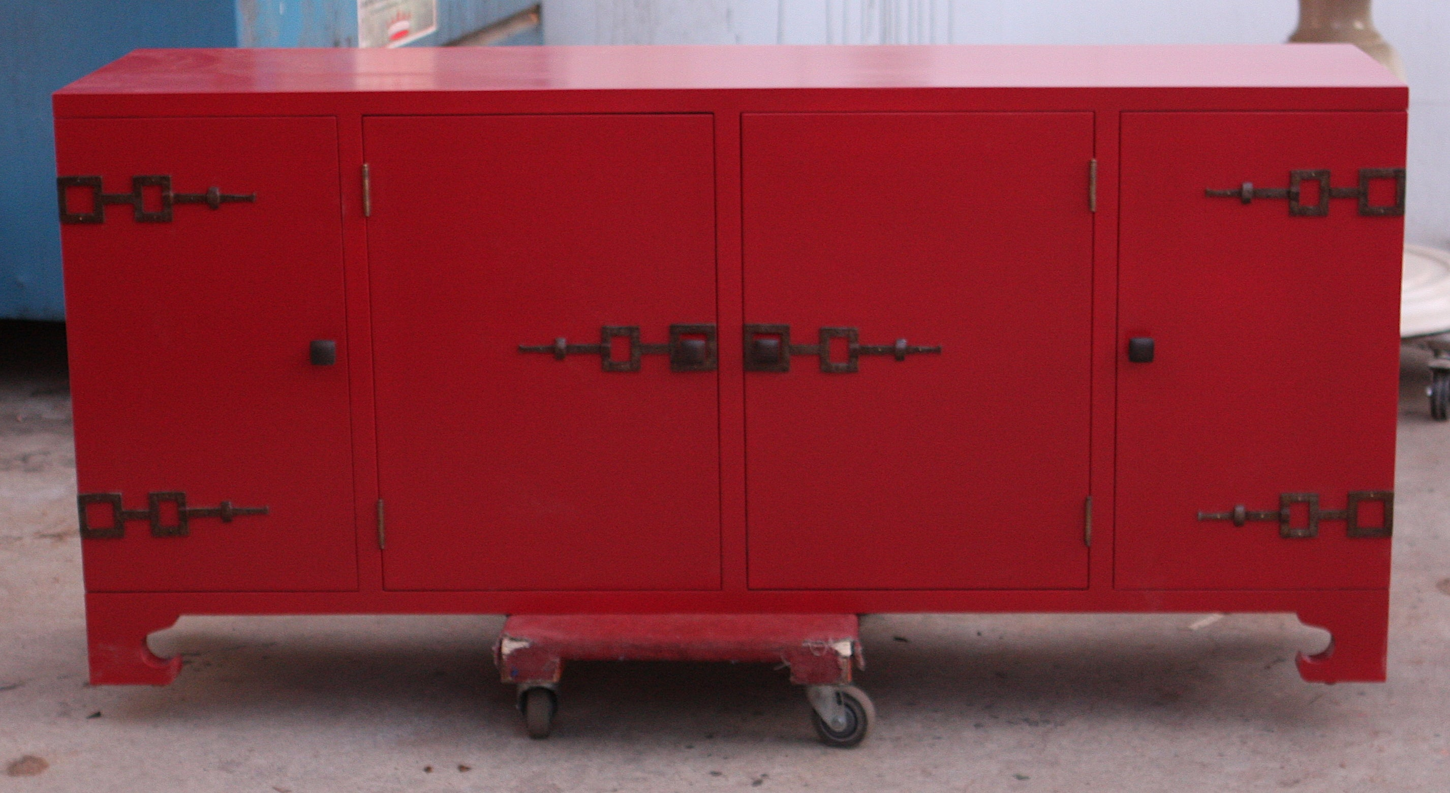 Red Lacquer Asian Influenced Media Cabinet Mortise Amp Tenon