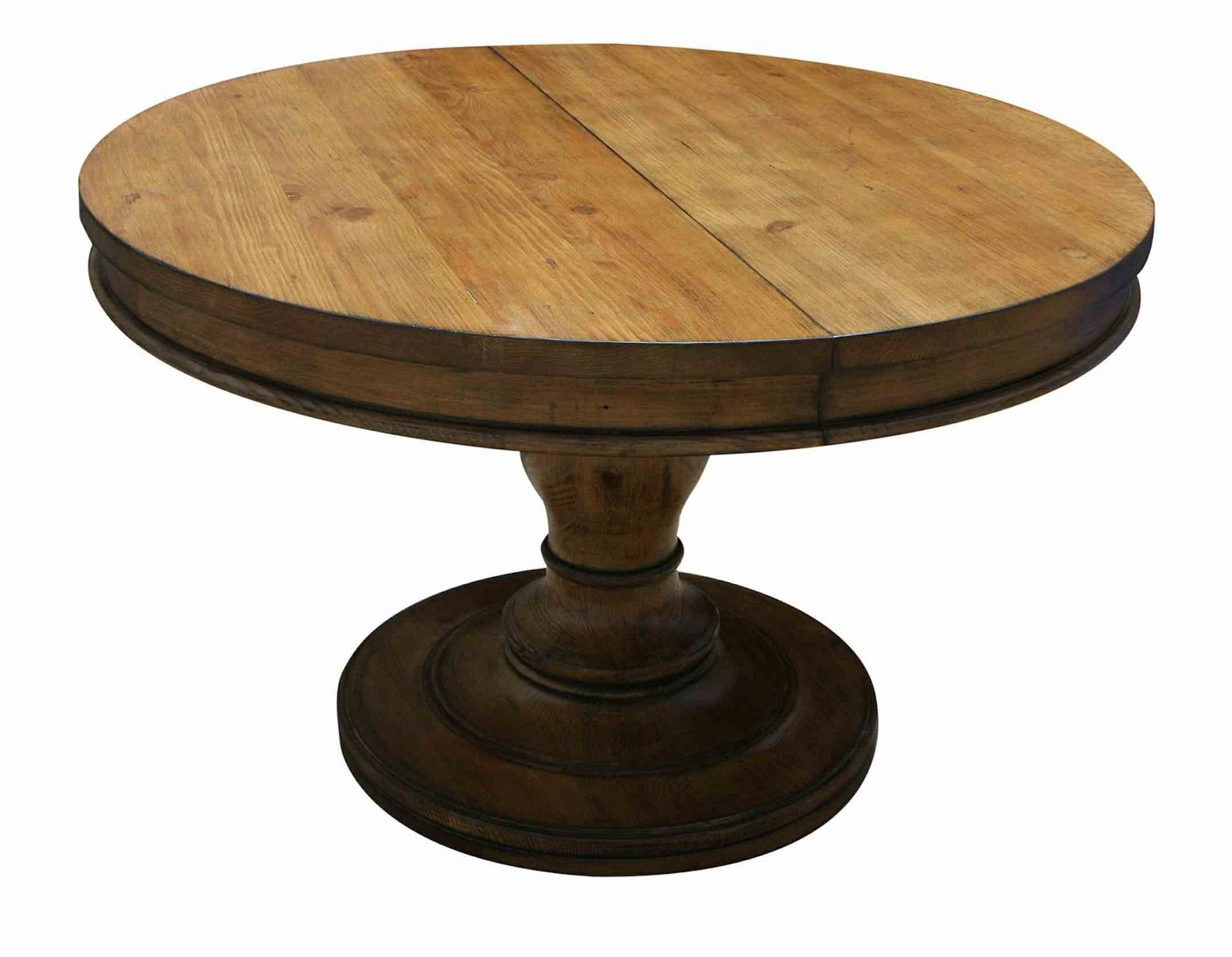 Shown Without Leaf Westport Round Reclaimed Wood Extension Pedistal Table